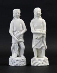 A Kangxi Blanc de Chine Porcelain Figure of 'Adam' and 'Eve' c.1700 - Robert McPherson Antiques.