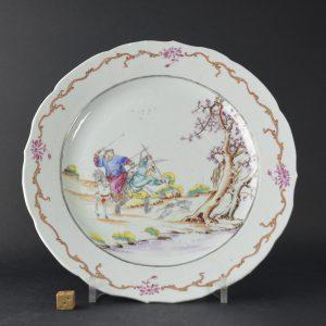 Qianlong Famille Rose Porcealin Hunting Scene Plate. Robert McPherson Antiques - 25224