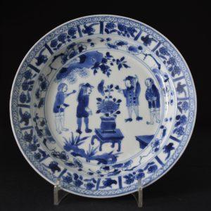 A Rare European Subject Chinese Export Porcelain Dish, Kangxi c.1690 - 1710 - Robert McPherson Antiques.