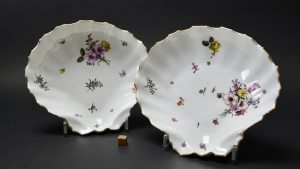 Pair of 18th Century Meissen Porcelain Shell-Shaped Dishes - Robert Mcpherson Antiques - 25316