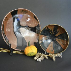 Robert McPherson Antiques - A Fine Shoji Hamada Stoneware Dish with a Black Tenmoku Glaze with a Trailed Russet Design c.1965 (25698) and Fine Song or Jin Dynasty Black Pottery Bowl of Cizhou Type (25278).