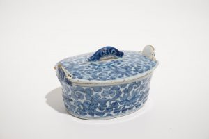 A Related 18th Century Dutch Delft Butter Tub and Cover.