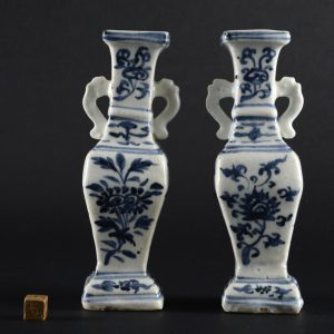 A Pair of Interregnum Ming Blue and White Porcelain Vases, Mid-15th Century - Robert McPherson Antiques - 25994