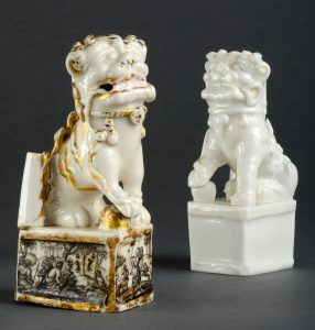 blanc de Chine lion with decoration by Ignaz Preissler and its counterpart