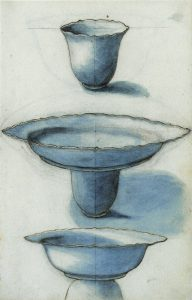 An anonymous sketch of Chinese porcelain added as loose sheets to the ships journal of the VOC ship the Gelderland, 1601-1603 (National Archief, Den Haag, The Netherlands.