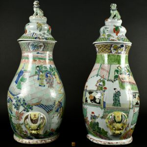 Two Rare Kangxi Famille Verte Wall Fountains and Covers - Robert McPherson Antiques - 25995
