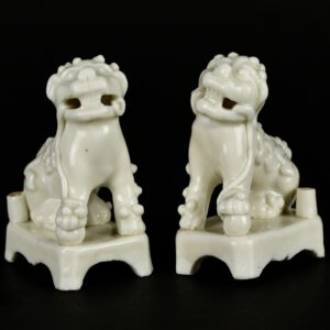 A Pair of 17th Century Blanc de Chine Dogs of Fu - Robert McPherson Antiques - 25573